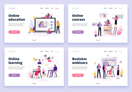 Online education. Women and men working with laptop, listen to a podcast, watching video and presentation. Set of banners and backgrounds for site or landing page with distance course theme. Vector illustration 向量圖像
