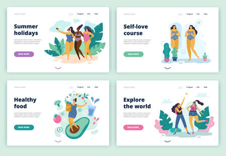 Set of happy body positive girls for landing page, site or banner. Attractive plus size women enjoy life. Vector illustration.