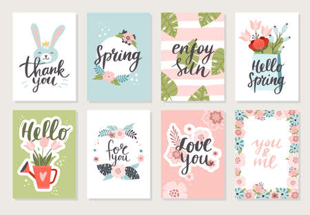 Set of lovely hand-drawn banners with flowers and a bunny. Vector illustration with floral graphic design. Great for wallpaper, website, postcard, banner, textile or print. 向量圖像