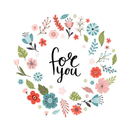 Hand-drawn floral banner with text. Vector illustration with lovely flower and leaf. Great for logo, website, postcard, banner or print. 向量圖像