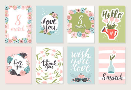 Set of lovely 8 march banners with flowers. Vector illustration with floral graphic design. Great for wallpaper, website, postcard, banner, textile or print. 向量圖像