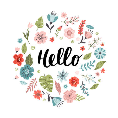 Funny hand-drawn banner with flowers and text hello. Floral vector illustration. Great for logo, website, postcard, banner or print.