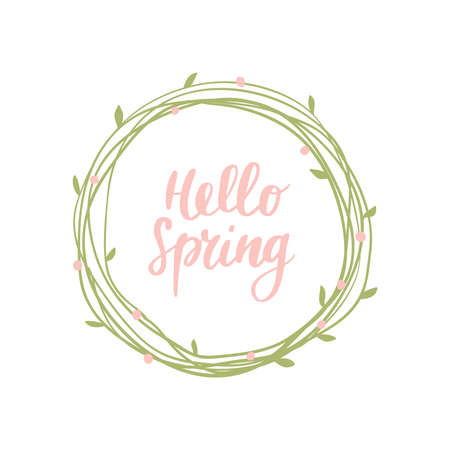 Cute hand-drawn round banner with spring flowers. Vector illustration with text Hello Spring. Great for a logo, website, flyer, stickers, postcard, print or banner.