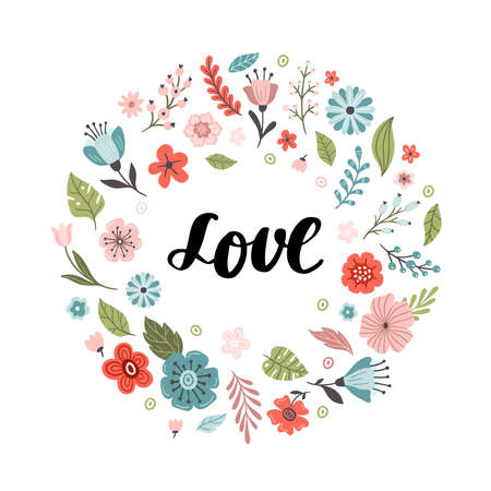 Cute hand-drawn round banner with flowers and text Love. Floral vector illustration. Great for logo, website, postcard, invitation, banner or print. 向量圖像