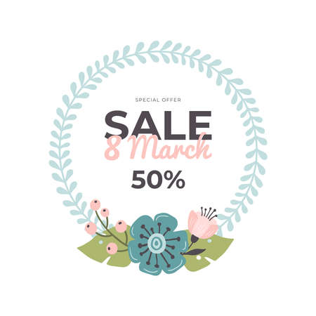 Hand-drawn banner for 8 March Sale. Vector illustration with spring flowers and text. Great for sell-out, website, flyer, postcard, print or banner.