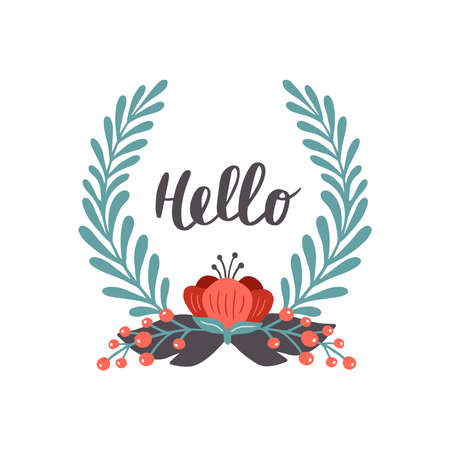 Hand-drawn banner with flowers. Vector illustration with text Hello. Great for a logo, stickers, website, flyer, postcard, print or banner.