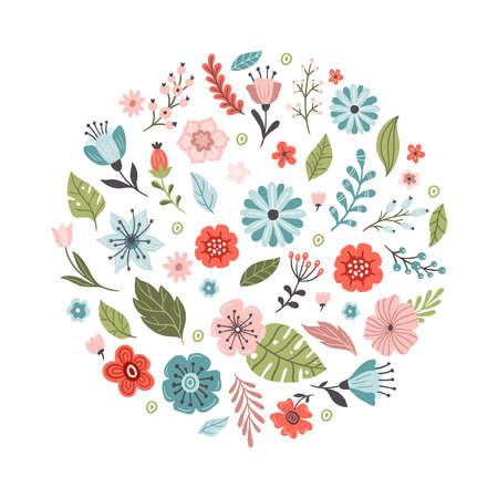 Lovely hand-drawn spring flowers. Floral vector illustration. Great for a logo, website, flyer, postcard, print or banner. 向量圖像