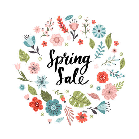 Hand-drawn round banner with flowers and text Spring Sale. Floral vector illustration. Great for sell-out, website, flyer, postcard or banner.