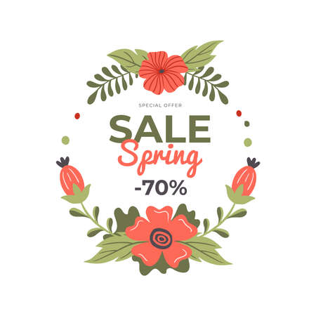 Hand-drawn banner for Spring Sale. Vector illustration with spring flowers, text and a discount. Great for a sell-out, website, flyer, postcard, print or banner.