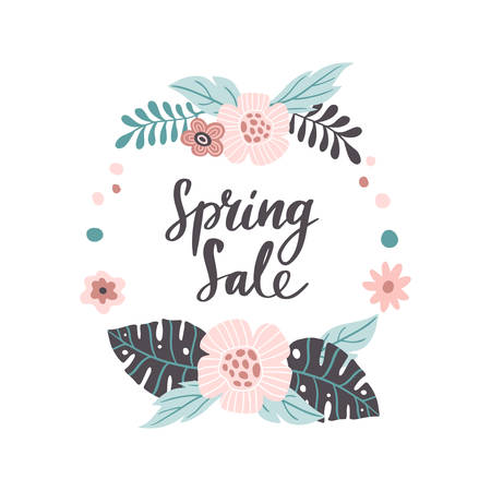 Great hand-drawn banner for Spring Sale. Vector illustration with pink spring flowers and text. Great for a sell-out, website, flyer, postcard, print or banner. 向量圖像
