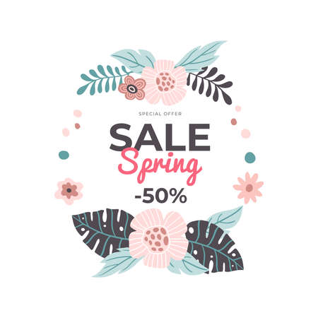 Delicate hand-drawn banner for Spring Sale. Vector illustration with pink spring flowers and a discount. Great for a sell-out, website, flyer, postcard, print or banner.