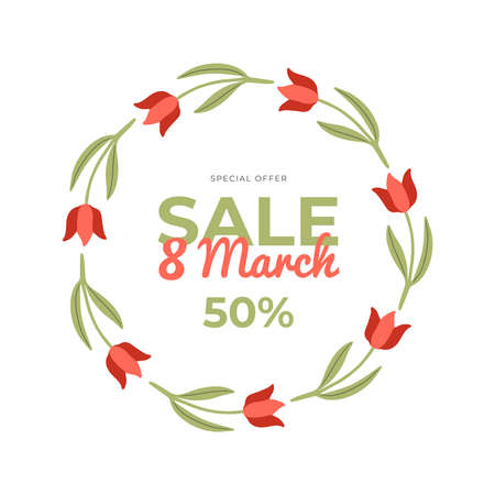 Beautiful hand-drawn banner for 8 March Sale. Vector illustration with spring tulips, text and a discount. Great for a sell-out, website, flyer, postcard, print or banner. 向量圖像