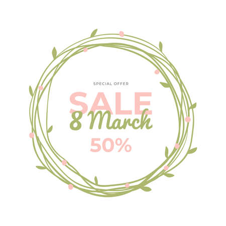 Lovely hand-drawn round banner for 8 March Sale. Vector illustration with spring flowers, text and a discount. Great for a sell-out, website, flyer, postcard, print or banner.
