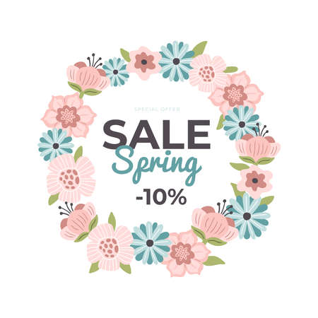 Beautiful hand-drawn banner for Spring Sale. Vector illustration with flowers, text and a discount. Great for a sell-out, website, flyer, postcard, print or banner. 向量圖像