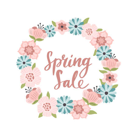 Cute hand-drawn Spring Sale banner. Vector illustration with pink and blue spring flowers with text. Great for a sell-out, website, flyer, postcard, print or banner.
