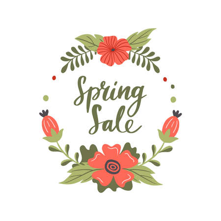 Hand-drawn Spring Sale banner. Vector illustration with red spring flowers and text. Great for a sell-out, website, flyer, postcard, print or banner.