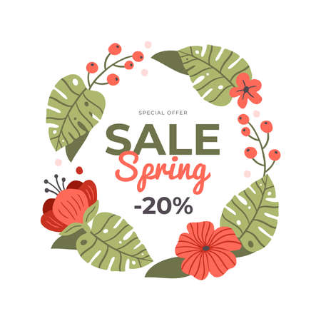 Cute hand-drawn banner for Spring Sale. Vector illustration with spring flowers, text and a discount. Great for a sell-out, website, flyer, postcard, print or banner.