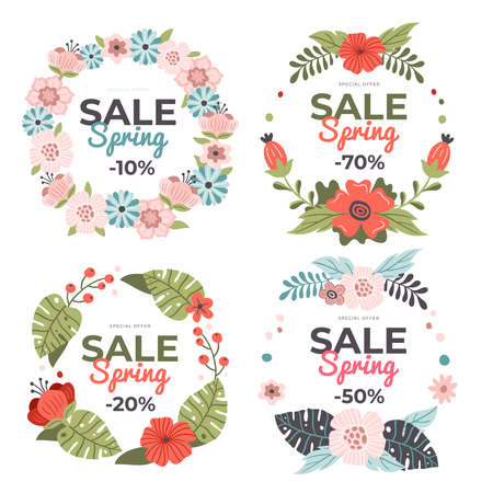 Set of delicate hand-drawn Spring Sale banners. Vector illustration with colorful spring flowers, leaves and berries. Great for a sell-out, banner, website, flyer, postcard or print.
