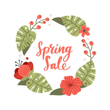 Stylish hand-drawn Spring Sale banner. Vector illustration with red spring flowers and berry. Great for a sell-out, website, flyer, postcard, print or banner.