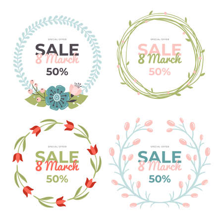 Set of lovely hand-drawn 8 March Sale banners. Holiday vector illustrations with colorful spring flowers, leaves and berries. Great for a sell-out, banner, website, flyer, postcard or print.
