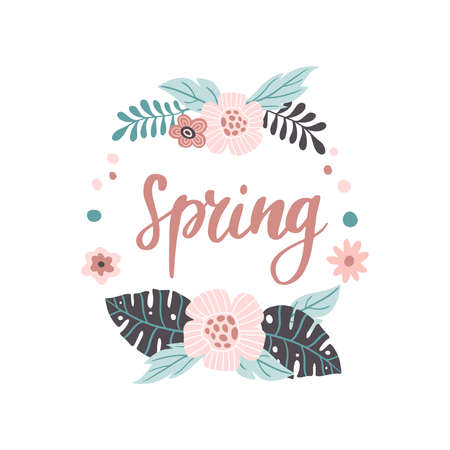 Lovely hand-drawn Spring banner. Vector illustration with pink flowers and leaves. Great for banner, website, flyer, postcard or print.