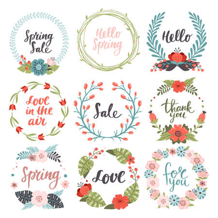 Set of lovely hand-drawn Spring banners. Holiday vector illustrations with colorful spring flowers, leaves berries and different text. Great for a sell-out, banner, website, flyer, postcard, print or email.