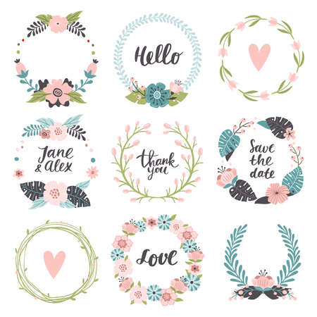 Set of cute hand-drawn Spring banners. Vector illustrations with colorful spring flowers, leaves berries and different text. Great for a sell-out, banner, frame, website, flyer, postcard, print or email. 向量圖像