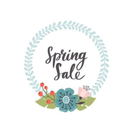 Modern hand-drawn Spring Sale banner. Vector illustration with red, blue and pink spring flowers and leaves. Great for a sell-out website, flyer, postcard, print or banner. 向量圖像