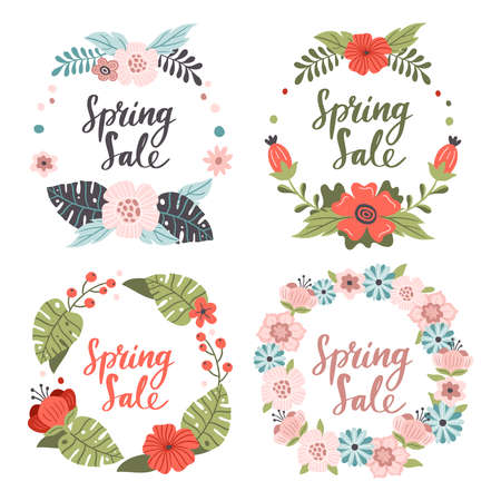 Set of cute hand-drawn Spring Sale banners. Vector illustration with red, pink and blue spring flowers. Great for a sell-out, banner, website, flyer, postcard or print.
