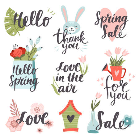 Set of cute hand-drawn Spring elements. Sunny vector illustrations with colorful spring flowers, rabbit, hearts, vases, and texts. Great for a sell-out, banner, frame, website, flyer, postcard, print or email.