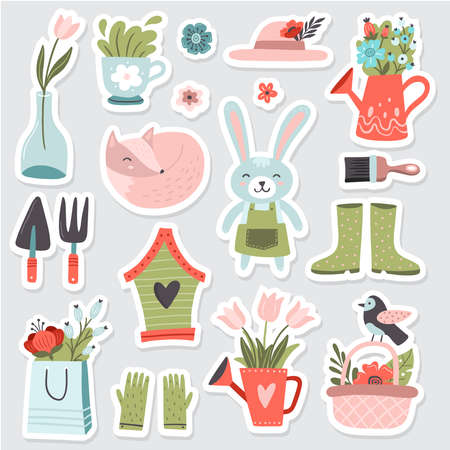 Funny hand-drawn garden set. Vector illustration. Cute bunny, fox, bird and many other garden elements with colorful spring flowers. Great for a sell-out, banner, website, landing page, flyer, postcard, print or email.