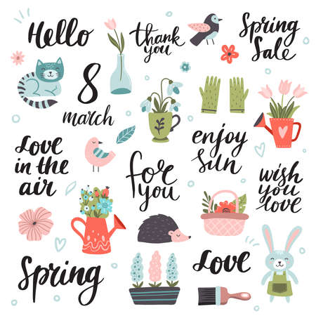 Big hand-drawn Spring set. Vector illustration. Cute bunny, cat, bird, hedgehog with many colorful spring flowers and texts. Great for a sell-out, banner, frame, website, landing page, flyer, postcard, print or email. 向量圖像
