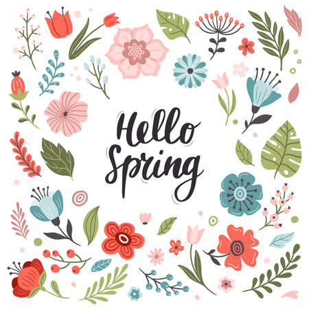 Bright and colorful hand-drawn Spring set. Many cute and beautiful flowers. Vector illustration. Great for a sell-out, banner, frame, website, landing page, flyer, postcard, print or email.