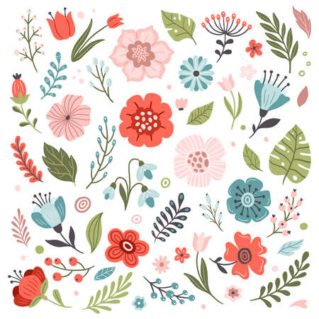 Set of cute hand-drawn Spring flowers. Many bright and beautiful flowers. Vector illustration. Great for a sell-out, banner, frame, website, landing page, flyer, postcard, print or email. 向量圖像