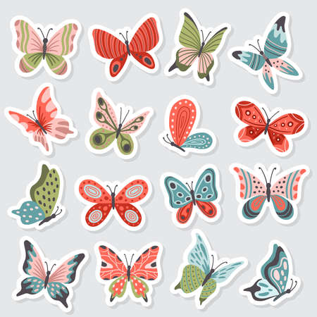 Set of cute hand-drawn butterflies. Many bright and beautiful insects. Vector illustration. Great for a sell-out, banner, frame, website, landing page, flyer, postcard, print or email.