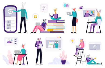 Big set of online education. Abstract animals working with a laptop, listen to a podcast, watching video and presentation. Set of banners and backgrounds for site or landing page with a distance course theme. Vector illustration 向量圖像