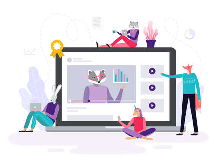 Abstract animals learning using laptops, watching online video course and discuss it. Background or banner for site or landing page with a distance course theme. Vector illustration