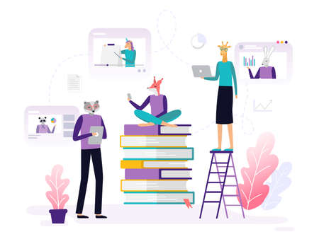Distance courses. Abstract animals working with laptops, watching video training and doing homework. Set of banners and backgrounds for site or landing page with an online education theme. Vector illustration 向量圖像