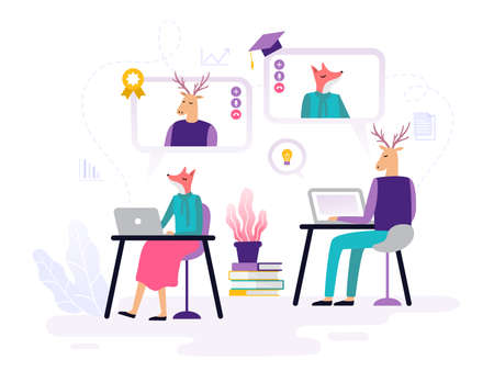 Abstract animals take online courses, working with laptops, watching videos and doing homework. Banner or element for a site with a distance education theme. Vector illustration