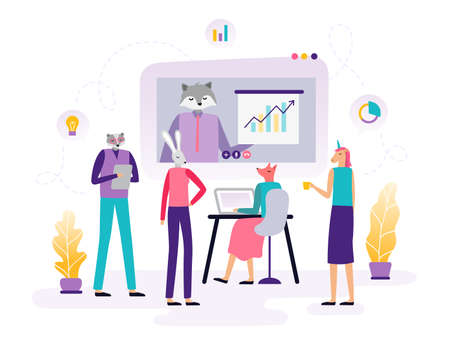 Online education. Abstract animals working with a laptop, watching video and learning. Background or banner for site or landing page with a distance course theme. Vector illustration 向量圖像
