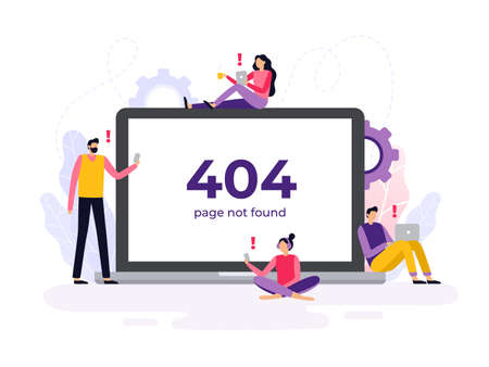 Hand-drawn 404 error banner. Vector illustration. Students learning near a big banner.  Can be used as any banner on your site or landing page with a distance course theme. Stock Illustratie