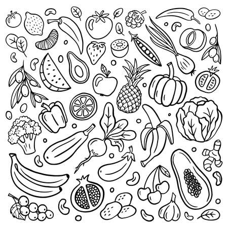 Hand-drawn fruits and vegetables in doodle style isolated on white background. Vector illustration for banners, sites, menu design, packaging, cooking book or advertising.
