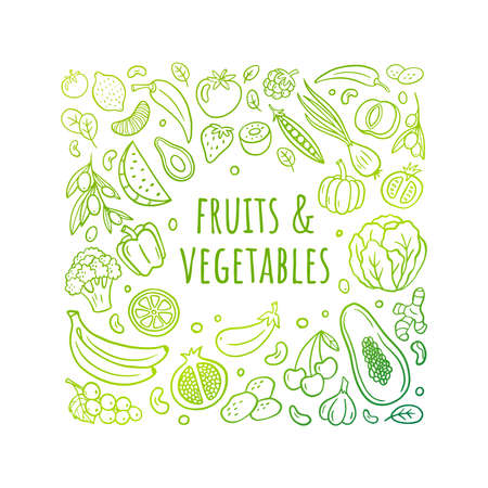 Nice hand-drawn vector illustration with fruits, vegetables, and text. Healthy food theme in an original doodle style with a gradient. Easy to edit and customize. Great for banners, sites, menu design, packaging, cooking book or advertising.