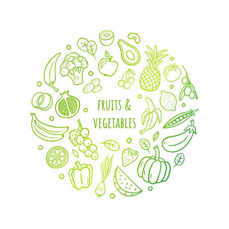 Cute hand-drawn gradient vector illustration with fruits, vegetables, and text. Healthy food theme in an original doodle style can be used for banners, sites, menu design, packaging, cooking book or advertising.