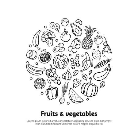 Trendy banner with fruits, vegetables, and text in organic doodle style. Hand-drawn vector illustration isolated on white background. Great for banners, sites, menu design, packaging, cooking book or advertising.
