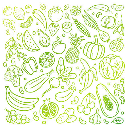 Hand-drawn vector illustration with a healthy food theme. Fruits and vegetables in an original doodle organic style. Great for banners, sites, menu design, packaging, cooking book or advertising. 向量圖像