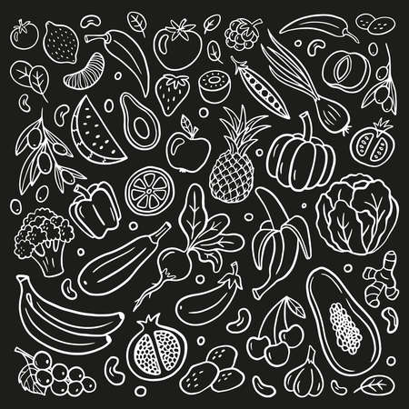 Black and white fruits and vegetables in organic doodle style. Isolated hand-drawn vector illustration. Great for banners, sites, menu design, packaging, cooking book or advertising.