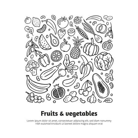 Trendy black and white hand-drawn fruits and vegetables. Healthy food theme in organic doodle style with editable text. Isolated vector illustration. Great for banners, sites, menu design, packaging, cooking book or advertising.