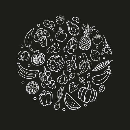 Black and white hand-drawn fruits and vegetables. Healthy food theme in organic doodle style. Isolated vector illustration. Great for banners, sites, menu design, packaging, cooking book or advertising. Ilustrace