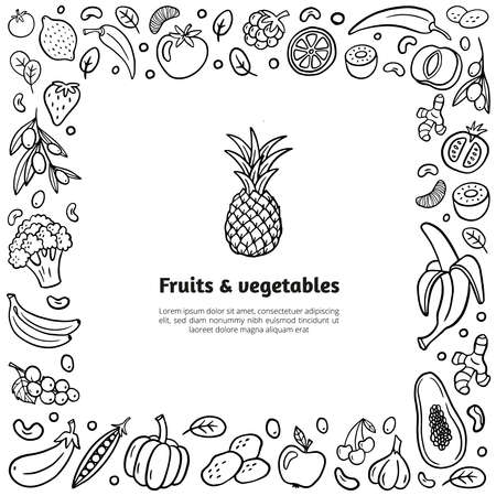 Hand-drawn frame with fruits, vegetables, and text in organic doodle style. Isolated vector illustration in healthy food theme. Easy to edit and customize.